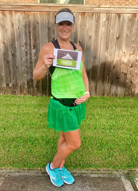 runDisney virtual 5K while 24 weeks pregnant with baby #3! For this Space Mountain themed 5K I dressed up as a green alien in my Nike top and Sparkle Athletic skirt!