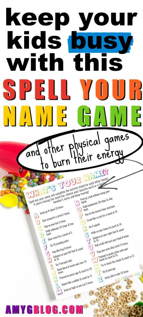 Get your free printable for this What's Your Name? A name game for kids! Get them off their screens and moving around while learning too! #gamesforkids #screenfreeactivities #namegame