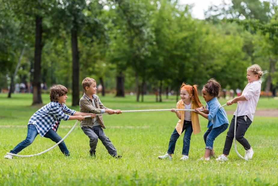 Backyard activities for kids - tug of war