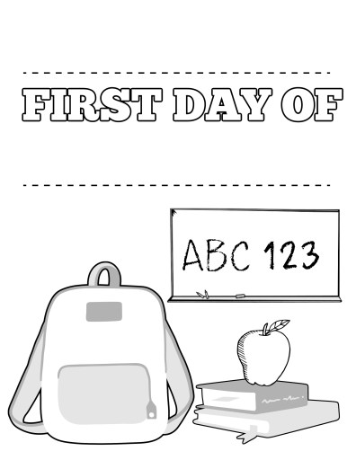 First Day of School Fill in the Black Name and Grade Coloring Page