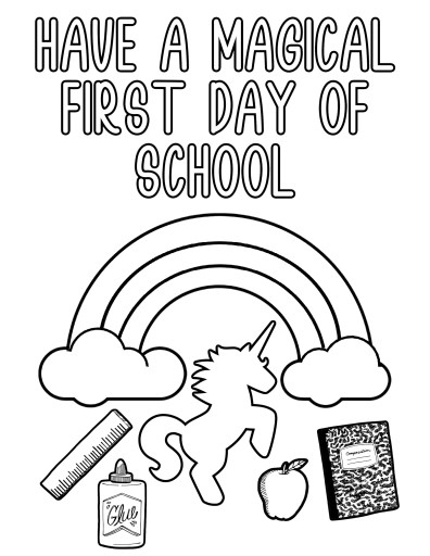 Magical Unicorn First Day of School Coloring Page
