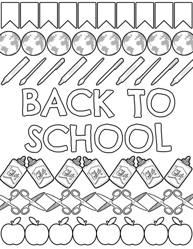 Everything You Need for Back to School Coloring Page