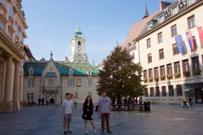 Three hooligans in a Slovakian square