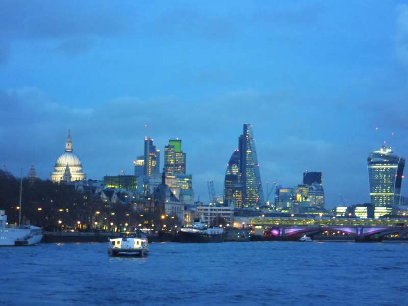 London City Night View From River Thames