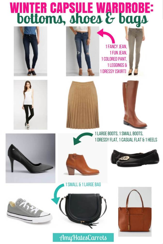 How to create a capsule wardrobe | Winter capsule wardrobe examples for bottoms, shoes and bags