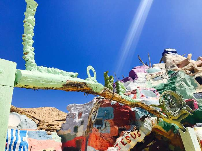 The love and the light! | About 1.5 hours outside of Palm Springs is the manmade rainbow-colored site called Salvation Mountain. It is a must see that will truly capture your heart.
