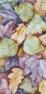"""Leaf Pile - 6""""x12"""" Original Watercolor"""