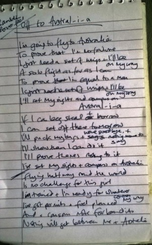 writing lyrics Off to Austral-i-a