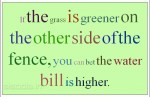 If the grass is greener on the other side of the fence you can bet the water bill is higher