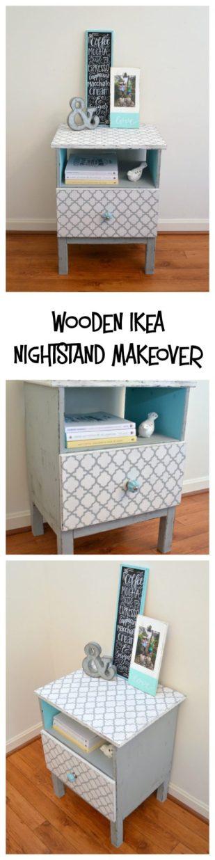 Wooden IKEA Nightstand Makeover