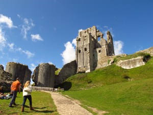 Corfe Castle, a grand old heap in Dorset, England.
