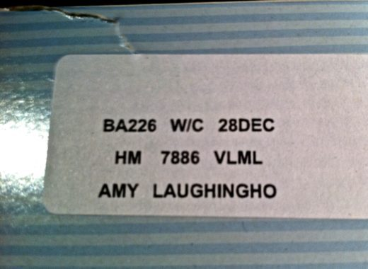 """My specially-labeled meal on BA. We'll assume """"Laughingho"""" was just a typo."""