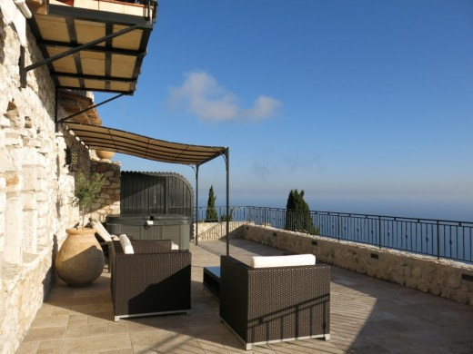 """View from Chateau Eza's """"Medieval Suite."""" The terrace features a hot tub."""