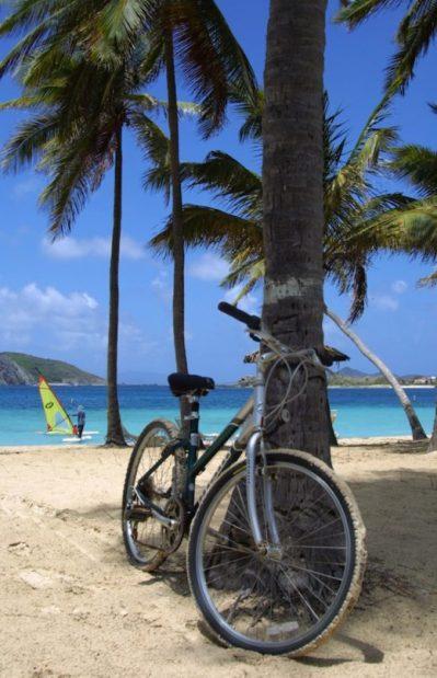 bicycle on a tropical Caribbean beach