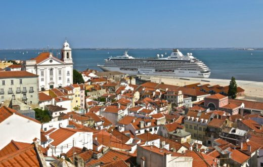 Crystal Serenity, viewed from a hillside in Lisbon.