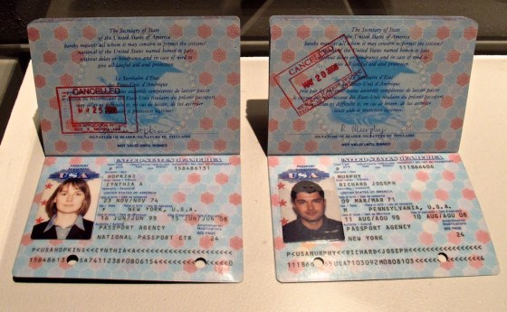 Fake passports obtained by Russian agents.