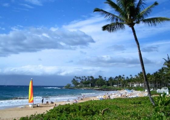 orange sail on beach_Maui0306A 100