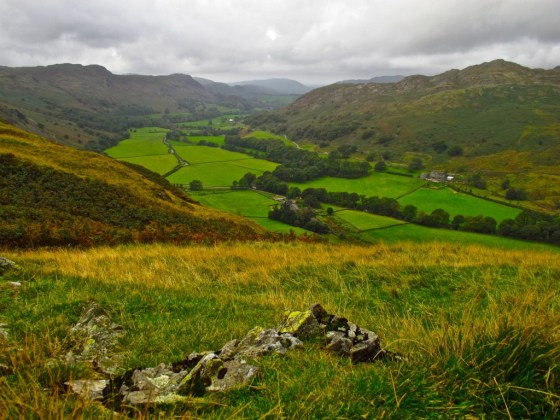 View into Eskdale Valley from atop Hard Knott