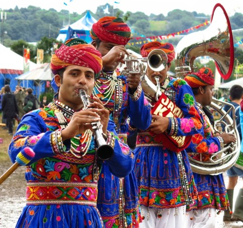 """""""Dude, can you play 'Freebird?'"""" The fabulous Jaipur Kawa Brass Band, all the way from India. Rock on!"""