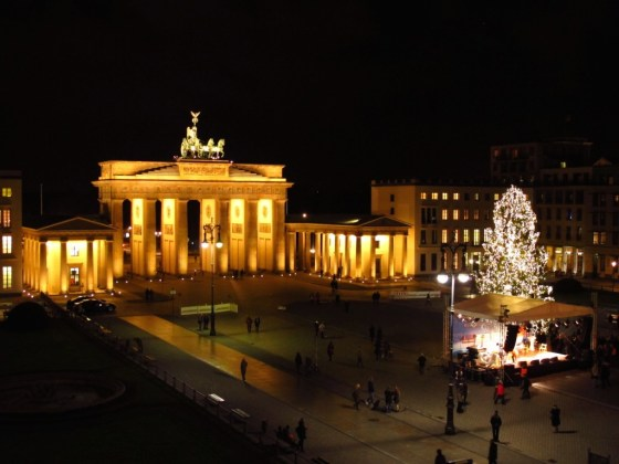 The Brandenburg Gate, where Berliners gathered to celebrate the fall of the wall.