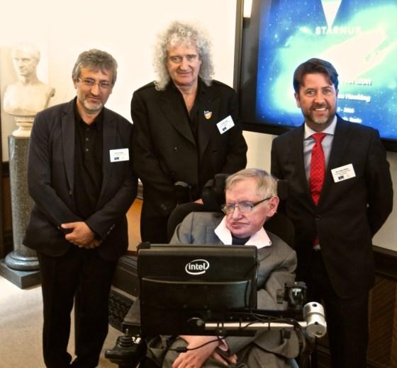 Starmus founder Garik Israelian, rocker Brian May, Stephen Hawking and President Carlos Alonso at the Royal Astronomical Society in London