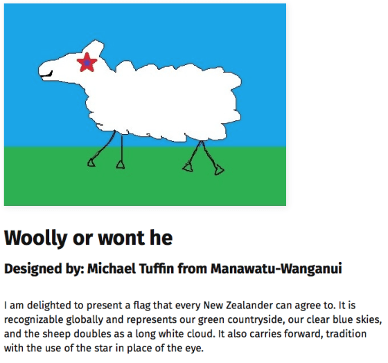 Proposed new New Zealand flag featuring a cloud-like sheep with a star for an eye.