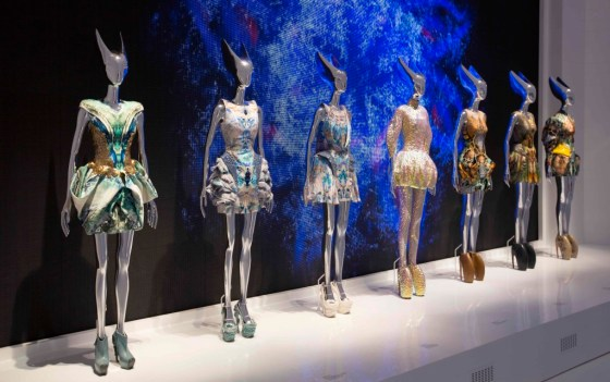 The Plato's Atlantis gallery at London's V&A sets Alexander McQueen's otherworldly designs against a backdrop of theatrical footage.