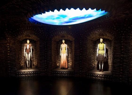 Mannequins wear fashions incorporating bones and skulls by British designer Alexander McQueen