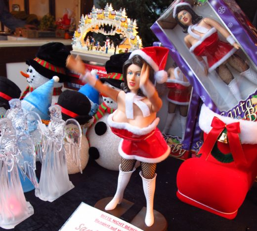 risqué doll at Hamburg, Germany's Santi Pauli Christmas Market