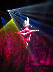 Acrobats perform at the Pirates Reloaded show in Magaluf, Mallorca