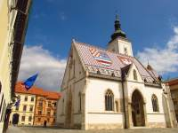 The colorful tiled roof of St. Mark's Church is one of Zagreb's must-see sights.