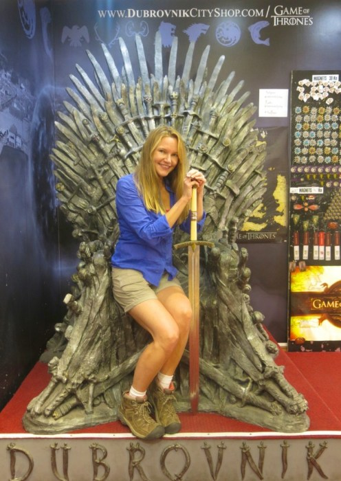 """At the Dubrovnik City Shop, """"Game of Thrones"""" fans can channel their inner King or Khaleesi by taking a seat upon a replica of the Iron Throne."""