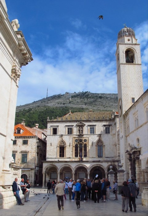 Crowds gather at the base of Dubrovnik's Venetian clocktower.