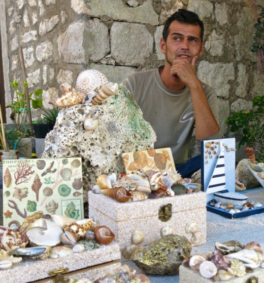 Mario Stajkovac makes jewelry boxes and picture frames adorned with sand and shells from Lopud, off the coast of Dubrovnik.