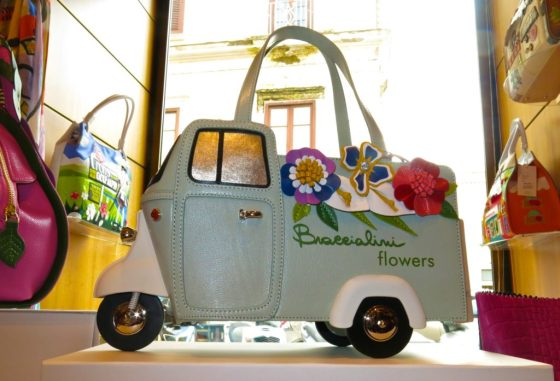 Handbag shaped like a flower truck at Aponte in Sorrento, Italy