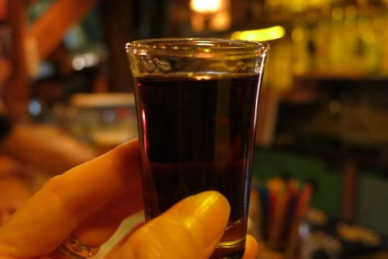 a shot of Unicum, a Hungarian herbal liqueur