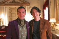 Jake Maskall and Mark Schwahn on set of the E! television series The Royals