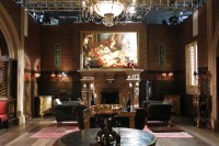 """King Cyrus' boudoir, as OTT as you'd expect. Taken on the London set of """"The Royals"""" E! tv series."""