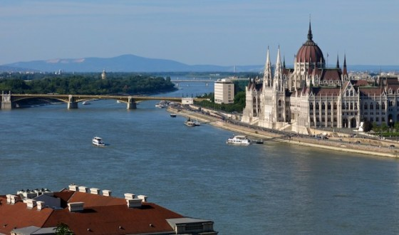 Hungarian Parliament in Pest, viewed from Buda side of the Danube River in Budapest