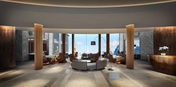 Artist's rendering of Bürgenstock Hotel reception lobby. CourtesyBürgenstock Resort Lake Lucerne.