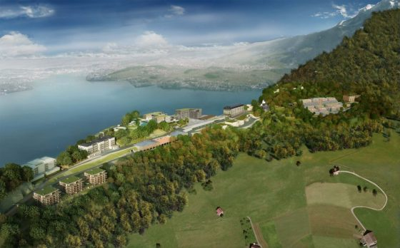 An aerial view of what Switzerland's Bürgenstock Resort Lake Lucerne will look like upon completion. Courtesy Bürgenstock Resort Lake Lucerne