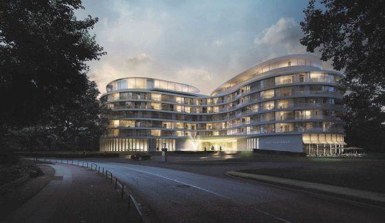Exterior of The Fontenay, located alongside Hamburg, Germany's Alster Lake. Courtesy of The Fontenay.
