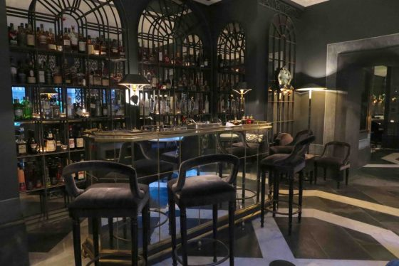 The bar at The Franklin hotel in Knightsbridge, London. Copyright Amy Laughinghouse.