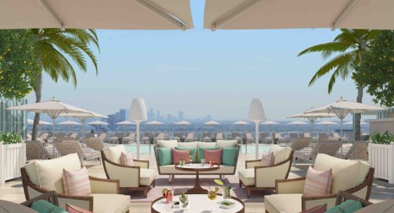 Rooftop pool at the Waldorf Astoria Beverly Hills. Courtesy theWaldorf Astoria Beverly Hills.