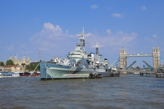 The HMS Belfast, now a museum, is docked in the center of London's River Thames. Copyright Amy Laughinghouse