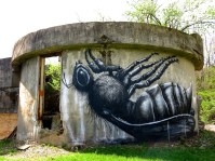 mural of fly on its back on Pepper Campus in Lexington, Kentucky