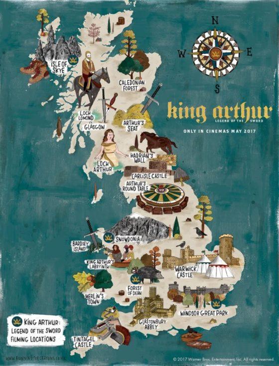 map of King Arthur legendary locations