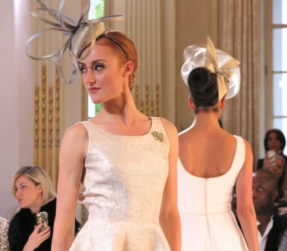 models in champagne-colored fascinators at Isabell Kristensen's 2017 Royal Ascot Couture Collection runway show