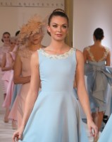 models in baby blue and pale pink dresses on the runway at Isabell Kristensen's 2017 Royal Ascot Couture Collection catwalk show at the Hyde Park Mandarin Oriental London