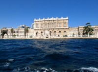 Dolmabahce Palace in Istanbul, Turkey, viewed from the Bosphorus.